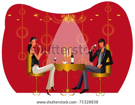bar ambiente with table and chairs - stock vector