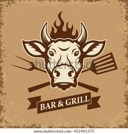 Bar and grill. Cow head with kitchen tools on grunge background. Design element for restaurant menu, poster. Vector illustration. - stock vector