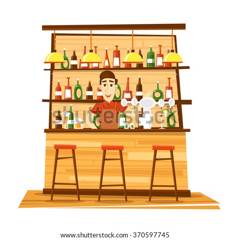 Bar bartender behind the bar. Flat vector illustration. - stock vector
