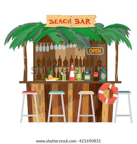 Bar bungalows on the beach ocean coast. Vector flat cartoon isolated illustration. Summer vacation in a tropical beach. Relaxing at the beach bar, drinks, fruits - stock vector