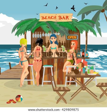 Bar bungalows with bartender woman and three visitor women on the beach ocean coast. Vector flat cartoon illustration. Summer vacation in a tropical beach. Relaxing at the beach bar, drinks, fruits - stock vector