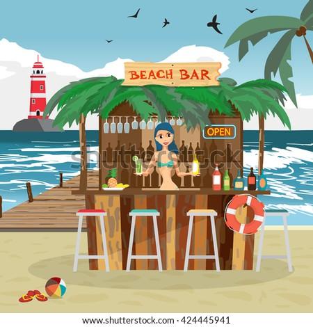 Bar bungalows with bartender woman on the beach ocean coast. Vector flat cartoon illustration. Summer vacation in a tropical beach. Relaxing at the beach bar, drinks, fruits - stock vector