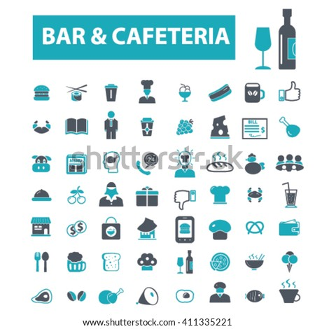 bar, cafe, cafeteria, pub icons  - stock vector