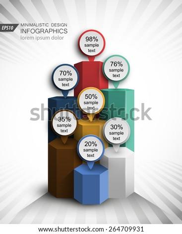 bar chart concept design 3d vector infographics element - stock vector