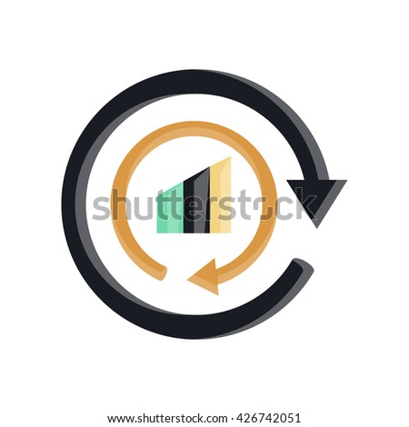 Bar chart reload multicolored flat icon in bright color theme illustration object - stock vector