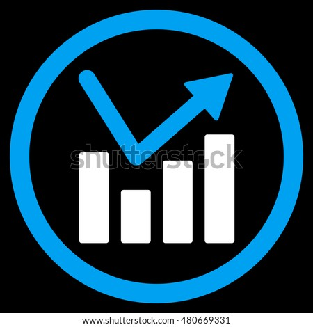 Bar Chart Trend rounded icon. Vector illustration style is flat iconic bicolor symbol, blue and white colors, black background.