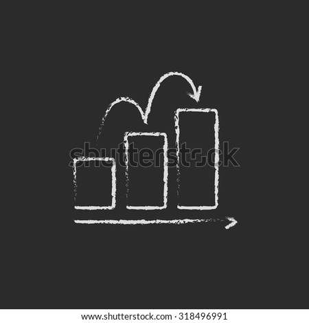 Bar chart upward hand drawn in chalk on a blackboard vector white icon isolated on a black background. - stock vector