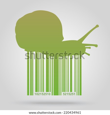 Bar code background with snail theme - vector element for design  - stock vector