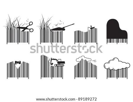 Bar code designs - stock vector