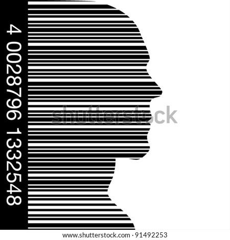 Bar code head. - stock vector