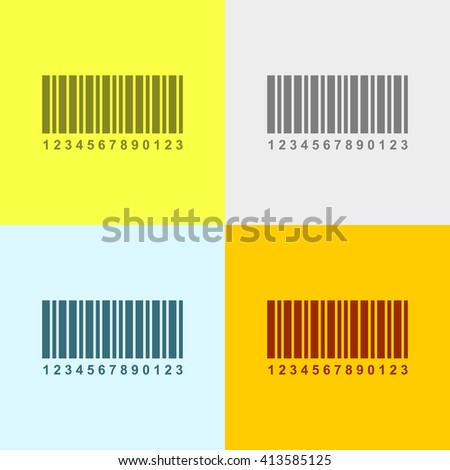 Bar Code Icon on Four Different Backgrounds. Eps-10. - stock vector