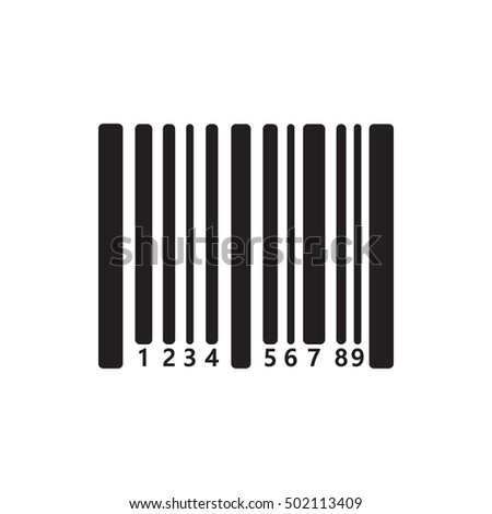 Bar code icon on the white background