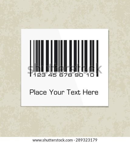 Bar code label on a packing paper. Vector illustration for your design.