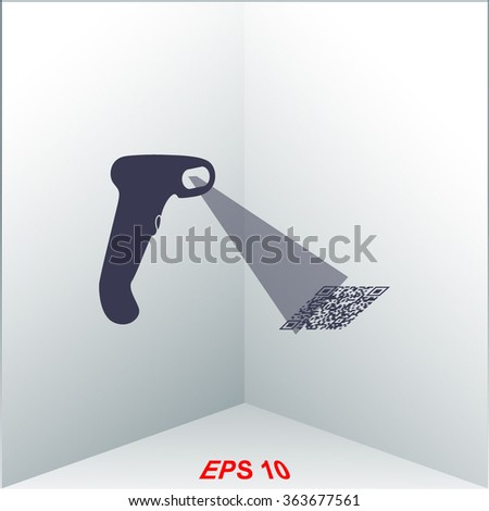 Bar code scanner icon. - stock vector