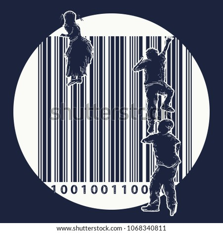 Bar code tattoo. Children climb over fence. Symbol of freedom and slavery, consumer society, globalization, future of mankind, digital world, big brother. Creative t-shirt design