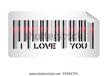 Bar code with i love you message, vector illustration