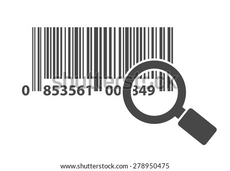 bar code with magnifying glass icon concept - stock vector