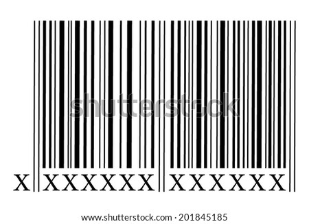 Bar code with x instead of numbers. vector art image illustration, isolated on white background