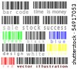 bar codes vector against white background, abstract art illustration - stock photo