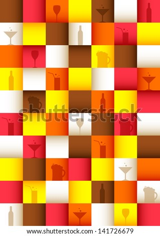 Bar colorful background with square mosaic. Vector version. - stock vector