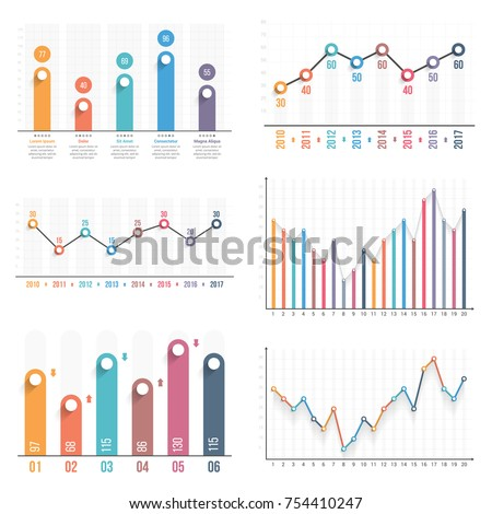 Bar Graph Line Graph Templates Business Stock-Vektorgrafik 754410247 ...