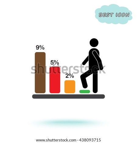 Bar graph climbing sign icons, vector illustration. Flat design style  - stock vector