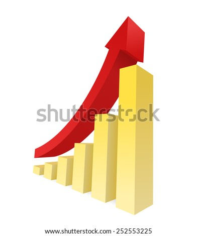 Bar graph vector showing an upward trend. Business growth and financial report graphic.   - stock vector