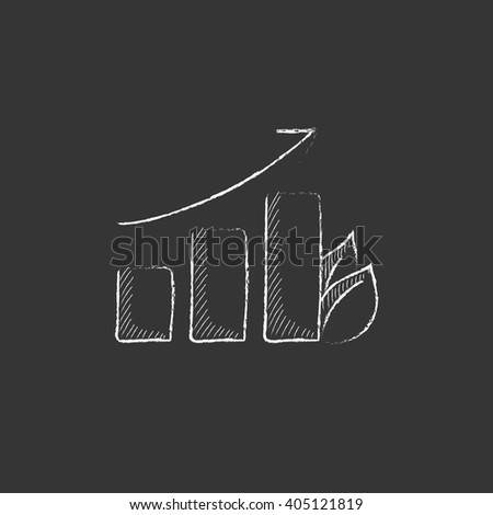Bar graph with leaf. Drawn in chalk icon. - stock vector