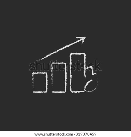 Bar graph with leaf hand drawn in chalk on a blackboard vector white icon isolated on a black background. - stock vector