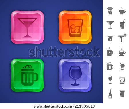 Bar icon set. Drinks and beverages icons for bar or pub website or app. Vector illustration - stock vector