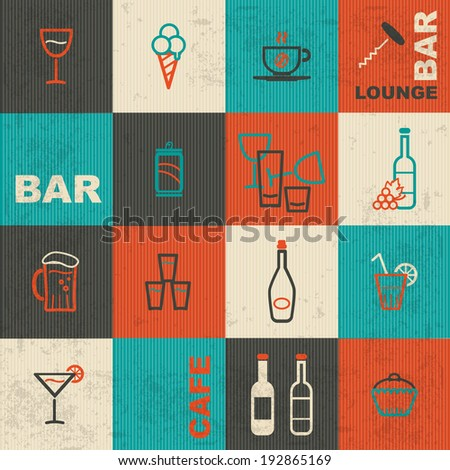 Bar icons set - stock vector