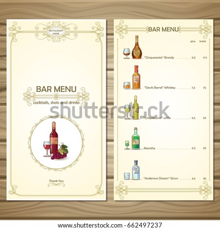 Bar Menu Template Different Alcoholic Beverages Stock Vector