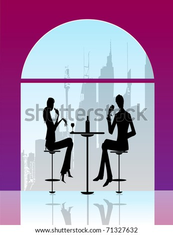 bar or restaurant ambiente with two persons and chairs - stock vector