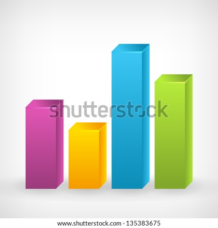 Bar shiny colorful vector graph icon