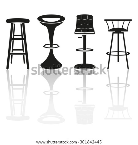 Bar stool icons - stock vector