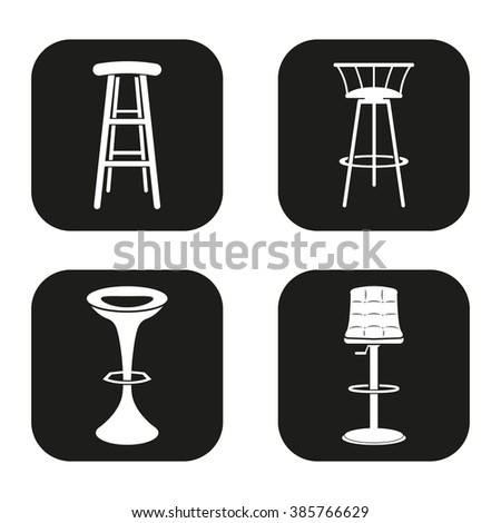 Bar stool icons in four variations - stock vector