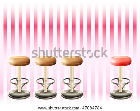 Bar stools over striped retro pink pattern - stock vector