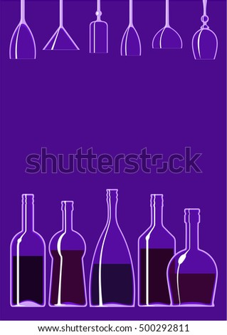 Bar style blue copy space confined with open and started bottles as the lower border and hanging empty wine glasses above.