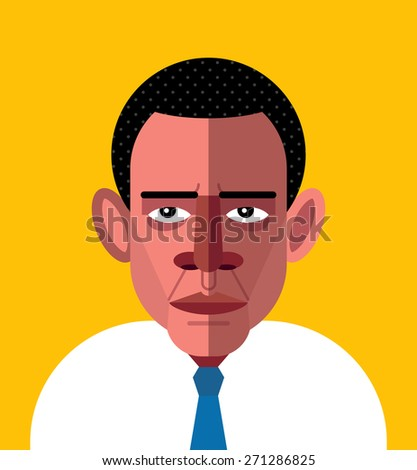 Barack Obama Portrait. Vector Illustration - stock vector