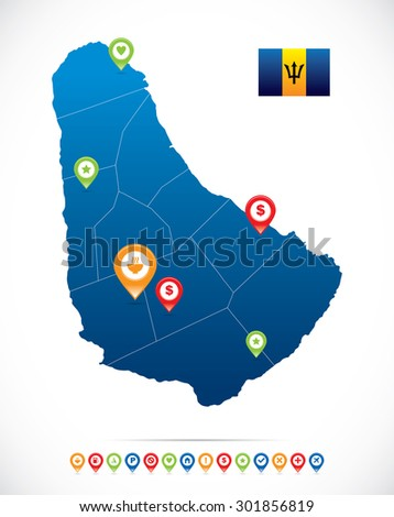 Barbados Map with navigation icons - stock vector