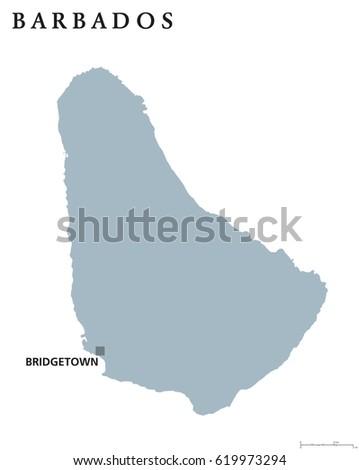 Barbados Political Map Capital Bridgetown Sovereign Stock Vector - Political map of barbados