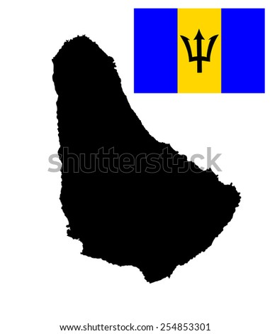 Barbados vector map isolated on white background. High detailed silhouette illustration. Barbados original and simple flag isolated vector in official colors and Proportion Correctly.