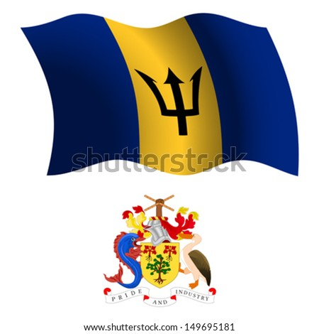 barbados wavy flag and coat of arms against white background, vector art illustration, image contains transparency - stock vector