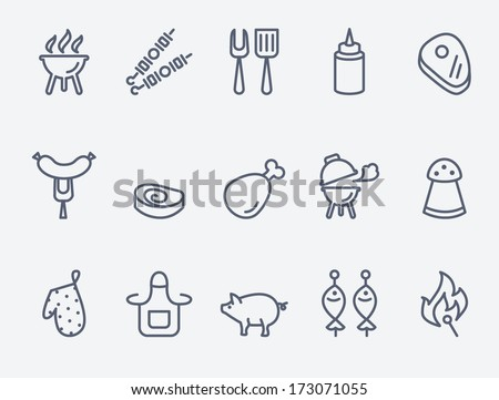 barbecue and  grill icon set - stock vector