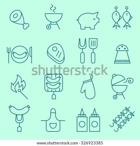 Barbecue and grill icons, thin line design - stock vector
