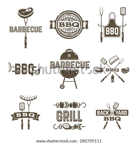 Barbecue and grill premium quality labels set isolated vector illustration - stock vector