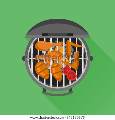 Barbecue and grilled chicken. Top view. Vector flat style illustration. - stock vector