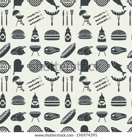 Barbecue and picnic seamless pattern. Vector, EPS 8. - stock vector