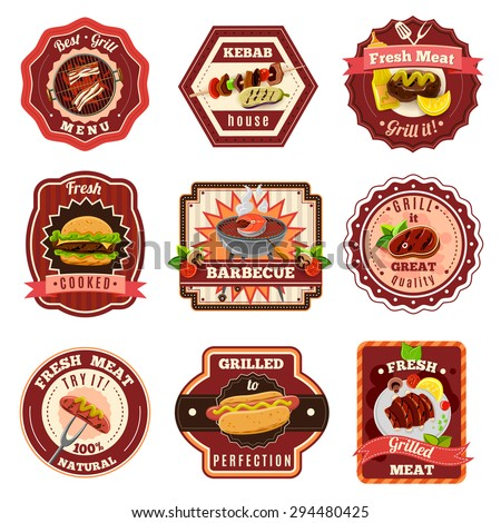 Barbecue and premium quality grill emblems set isolated vector illustration - stock vector