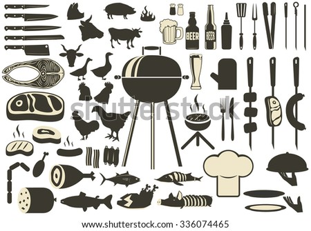 Barbecue BBQ Silhouette Set. grilled meat and fish, beer and kebabs. Kitchen tools silhouettes chicken, cows, pigs. Grill icons. Vector illustration - stock vector